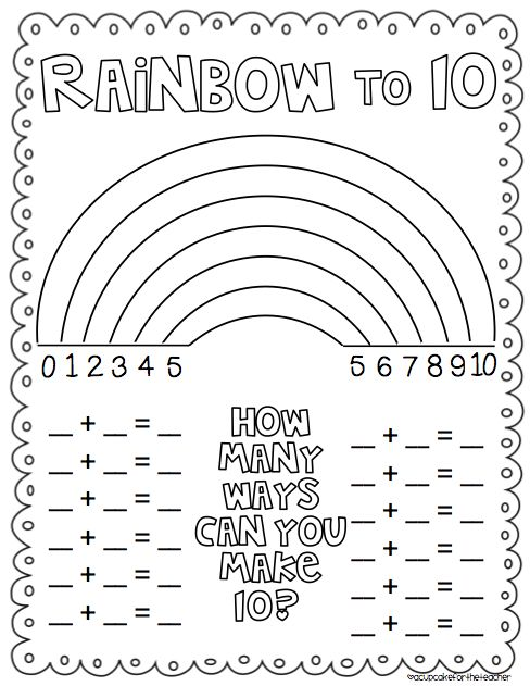 Rainbow Number Combinations to 10 Freebie {from Cupcake for the Teacher} - Awesome!