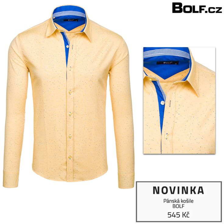 Absolutní novinka! Pánská košile značky Bolf se skvrnitým vzorem s dlouhým rukávem. Živá barva a dekorativní lišta u knoflíků.