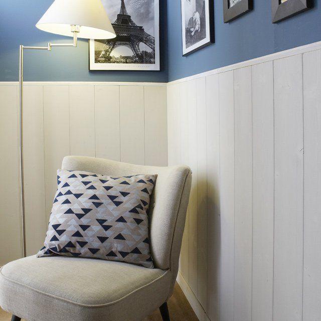soubassement en lambris deco pinterest lambris peinture bleu et anglais. Black Bedroom Furniture Sets. Home Design Ideas