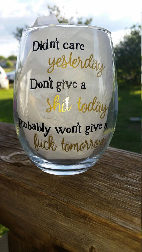 Didn't Care Yesterday / Funny Wine Glass / Wine Tumbler /
