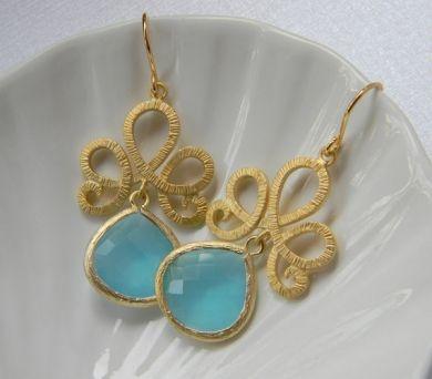 Gold Plated Tiara Earrings with Capri Blue Dangle Crystal Briolettes - MVB: Shop, Tiara Earrings, Blue Dangle, Ocean Blue, Dangle Crystal, Capri Blue