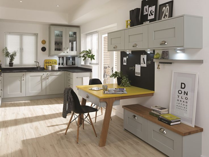 Milbourne Partridge Grey: Milbourne is a classic shaker styled design. A clear glazed feature door and open shelving have been used here, and the neutral but very on trend Partridge Grey allows you to be bolder with your accent paint colours.