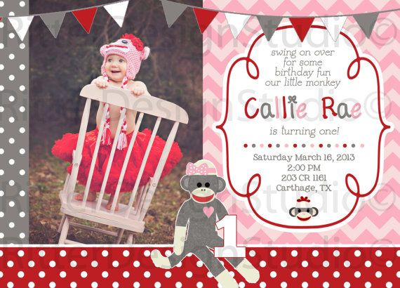 Sock Monkey Girl Invitation - Printable on Etsy, $16.00