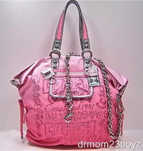 I love pink & I am a handbag junkie. Perfect. New NWT Coach Poppy Spotlight Pink Rhinestone Embellished XL Tote Purse 15312. I want this now!!!!!!!!