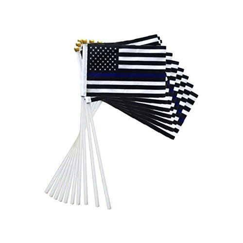 Thin Blue Line American US USA flag police flags Law Enforcement molon labe America 2nd second amendment (10 PACK) support small supplies pack set car truck accessoires mini lawn garden handheld