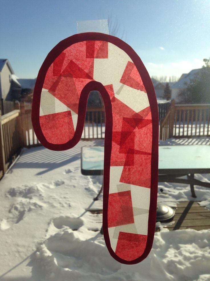 Candy Cane Sun Catcher Craft - Christmas Craft - Preschool Craft