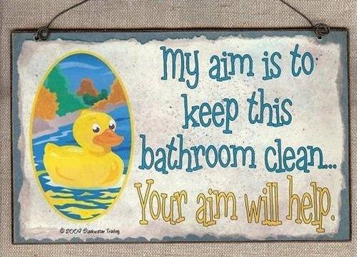 DUCK MY AIM KEEP BATHROOM CLEAN YOUR AIM HELPS RUBBER DUCKY BATH DECOR WALL  SIGN