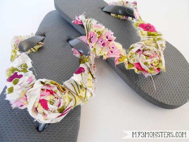 Embellished Flip Flop Ideas at my3monsters.com. Lots of great ideas to redo our flip flops!!
