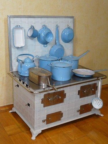 antiker großer Bing Puppenherd,Kinder-Herd,Puppenofen,Emailgeschirr blau weiß | eBay
