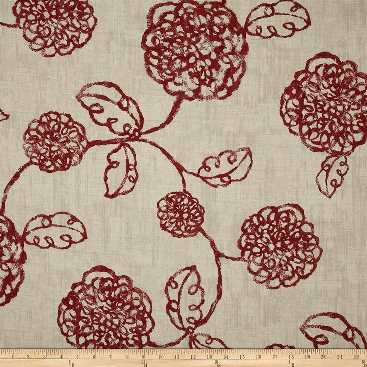 Screen printed on (approx. 6 ounce) cotton duck, this versatile, medium weight fabric is perfect for window accents (draperies, valances, curtains and swags), accent pillows, bed skirts, duvet covers, slipcovers, upholstery and other home decor accents. Create handbags, tote bags, aprons and more. Colors include crimson and ivory.