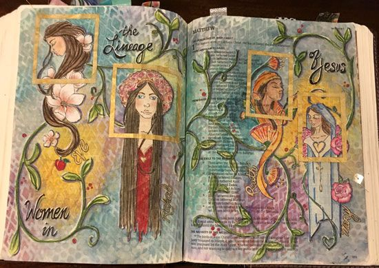 Matthew 1 Women in the Lineage of Christ   http://melissagross.blogspot.com/2017/04/illustrating-book-of-ruth.html