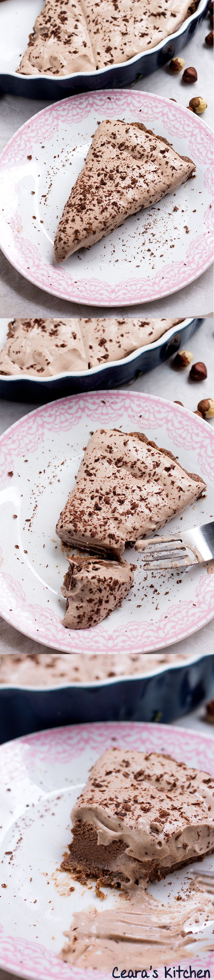Vegan Chocolate Hazelnut Pie - Healthy No Bake Nutella Pie! A chocolate cookie crust, chocolate-hazelnut center & chocolate mousse top!