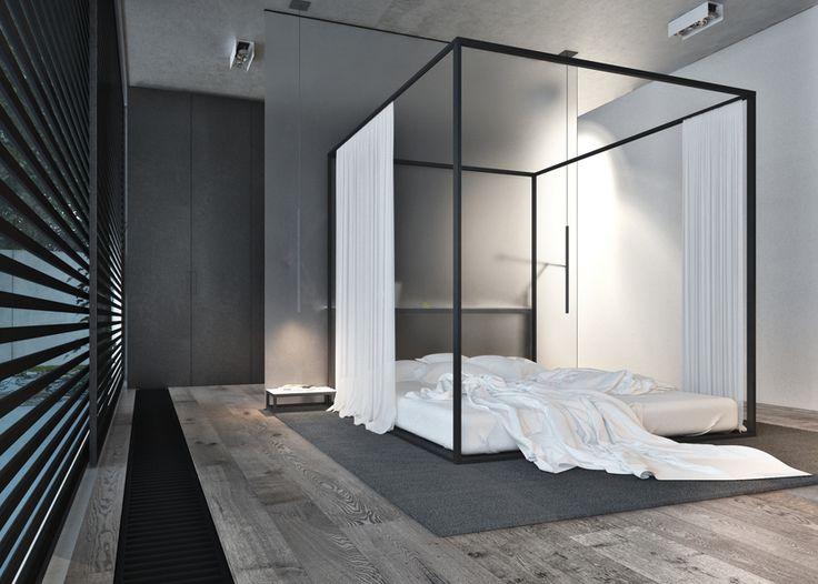 The frame house by igor sirotov interior design for Minimalist bedroom pinterest