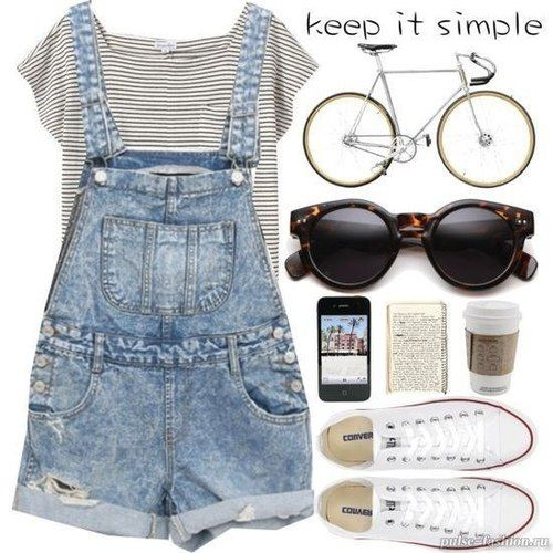 Dungarees, stripes & converse