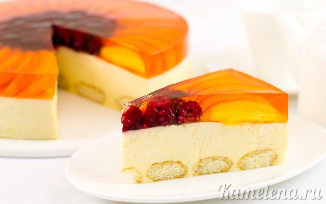 Персиковый торт с савоярди (без выпечки)