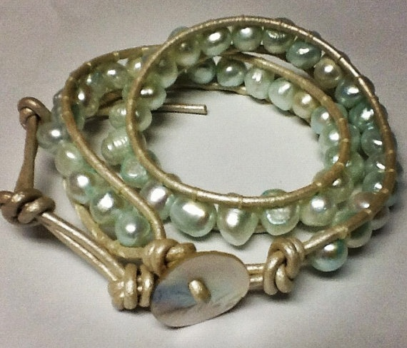 Beaded Leather Wrap Freshwater Pearls Bracelet