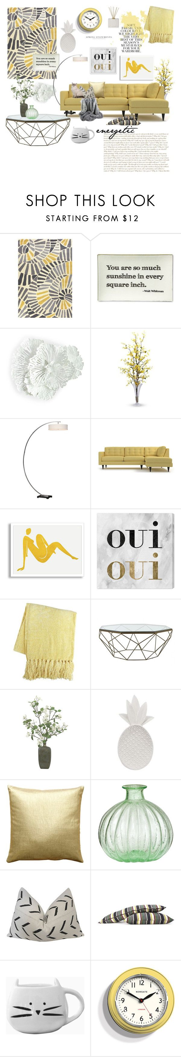 """""""Lemon burst"""" by iwona-estera on Polyvore featuring interior, interiors, interior design, home, home decor, interior decorating, Jaipur Rugs, Twigs and Moss, Nearly Natural and Uttermost"""