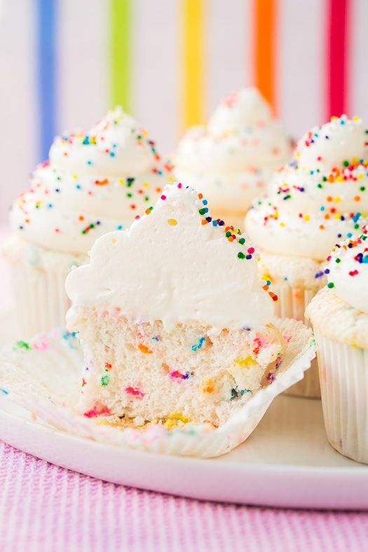 Funfetti Angel Food Cupcakes - love these cupcakes! Homemade funfetti is so much better than a box mix.