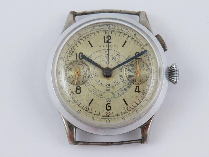 rare very early mono one push angelus chronograph with original dial serviced and working fine 35mm fixed lugs ready to wear by Bohemianwatchsource on Etsy