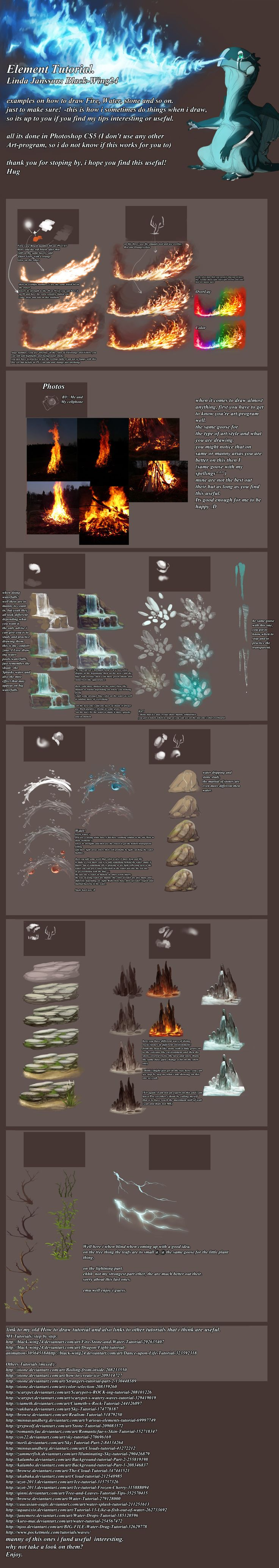 Black-Wings way of doing Nature's elements by Black-Wing24.deviantart.com on @deviantART