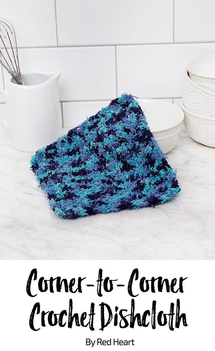 Corner-to-Corner Crochet Dishcloth free crochet pattern in Scrubby ...