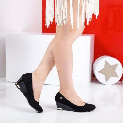 Promotie • Pantofi dama Eshe negri cu platforma ortopedica