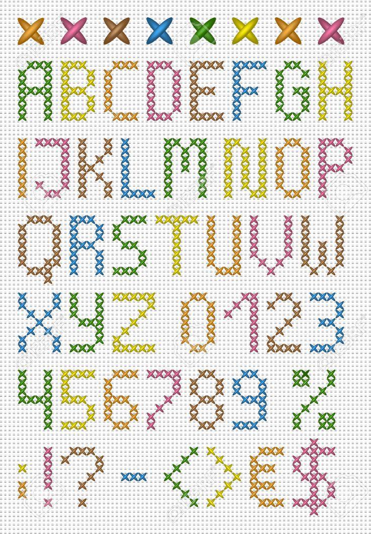 Punto de cruz de colores mayúsculas alfabeto Inglés con números y símbolos Conjunto de vectores