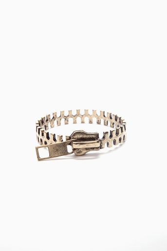 """Totally rad antiqued gold cuff featuring a zipper design. Slip-on style. Perfect worn on its own or stacked! *Approx. 2.75"""" width *0.5"""" height *Imported $15"""