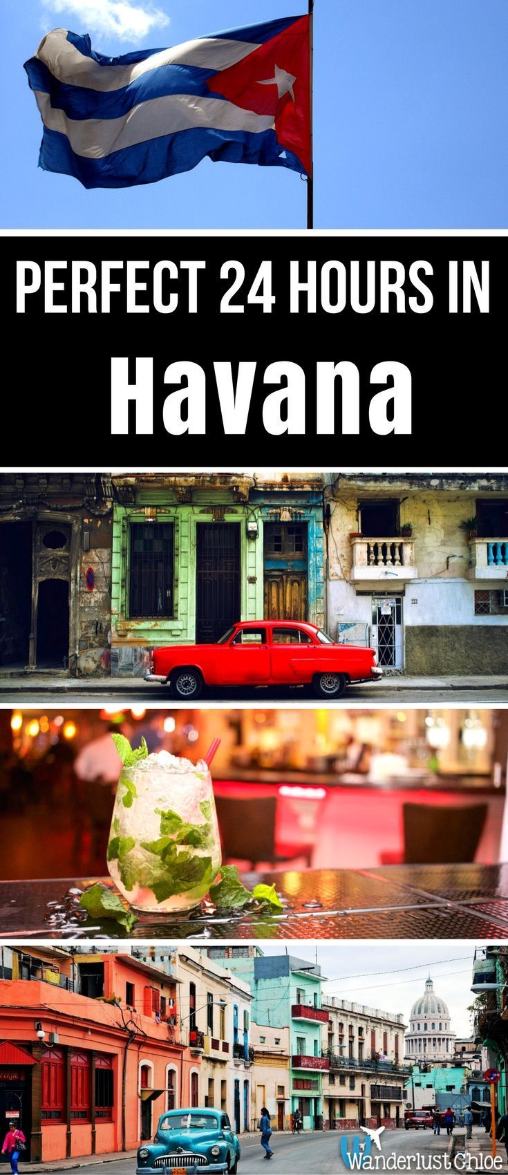 The Perfect 24 Hours In Havana, Cuba From visiting the amazing markets to trying a Havana Club mojito to checking out the vintage cars and architecture, there's plenty to see and do in Havana. http://www.wanderlustchloe.com/the-perfect-24-hours-in-havana-cuba/