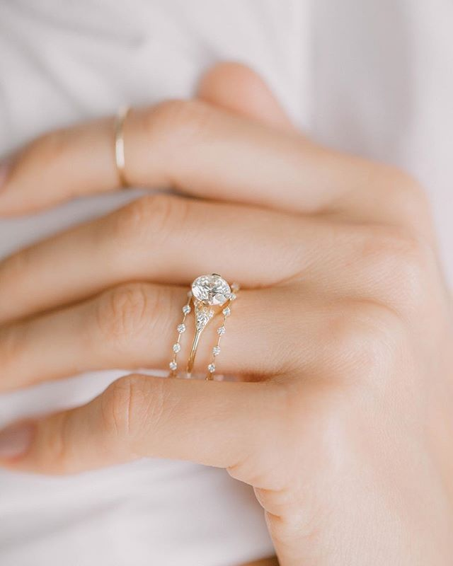 Our 1 5ct Lady S Slipper Paired With The Petite Diamond Distance Band Makes For A Lovely And D Wedding Rings Vintage Wedding Rings Simple Diamond Wedding Bands