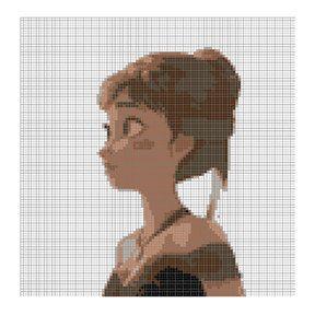 "Disney Frozen - Anna 2  - Full Colour Cross Stitch Template - 4.8"" x 4.9"" - 8 Colours"