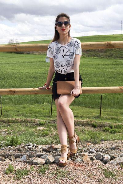 black black and white Missoni sunglasses - white bike print By Closset shirt