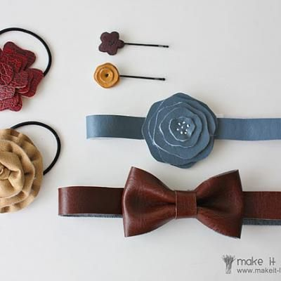 Faux Leather Hair Accessoires- or make from repurposed old leather purse