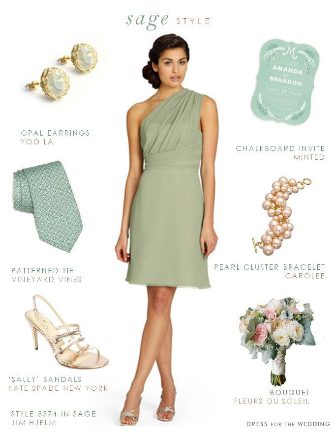 Sage green bridesmaid dress style idea