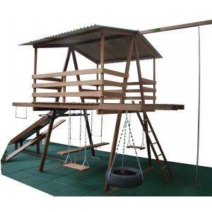 Casinha do Tarzan - Parquinho - Madeira de Lei - Rústica - MF - Mod. B - Cód. 0413.2