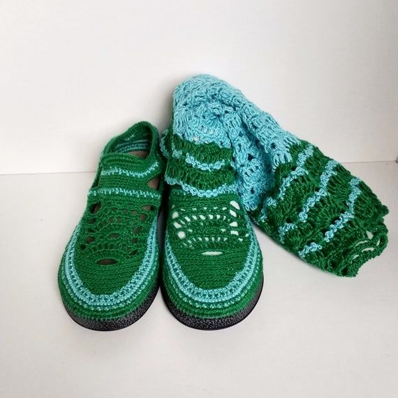 Crochet summer shoes / 39 Knitted cotton boot Women crochet shoe Green / blue knitted shoe Casual summer