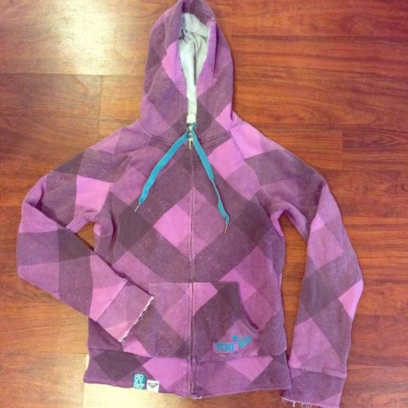 Womens Roxy zip up jacket Purple plaid Roxy zip up jacket. Great condition. Size large. Zipper works perfectly, no stains or holes. Roxy Jackets & Coats