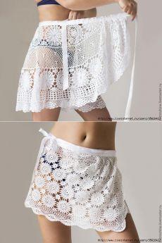 Пляжная юбка из вязаной ажурной скатерти