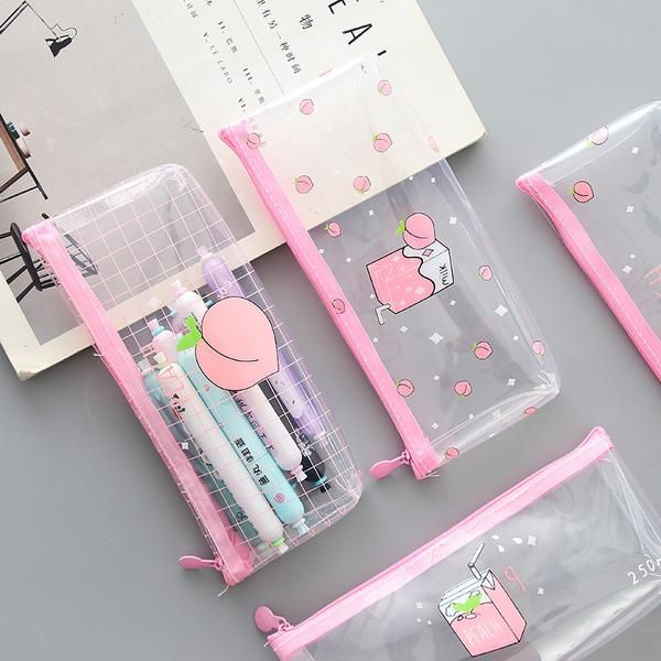 Transparent Peach Milk Pencil Case Cute Pencil Case Cute School