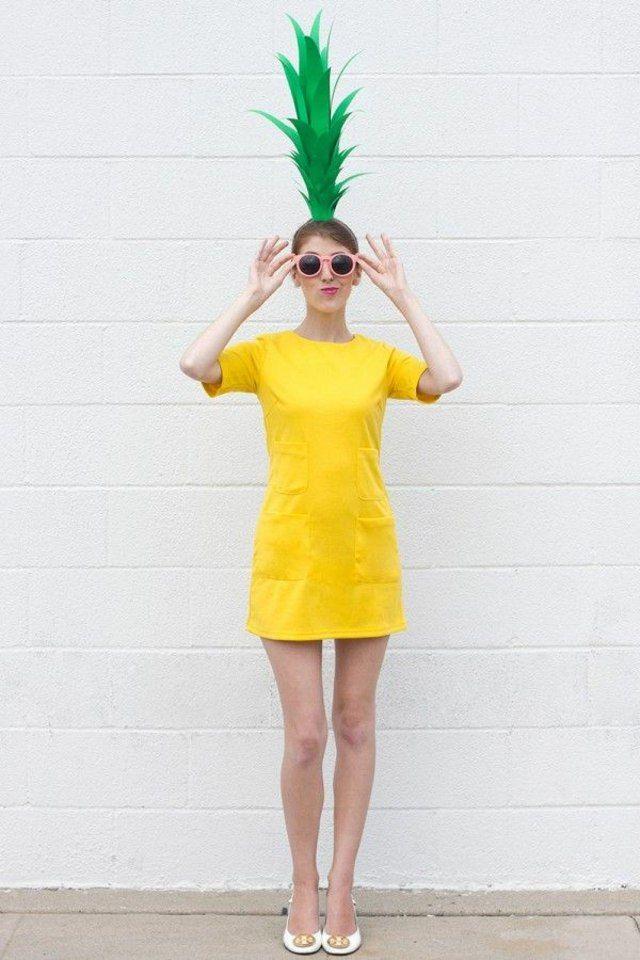 Déguisement Halloween femme dernière minute : costume d'ananas