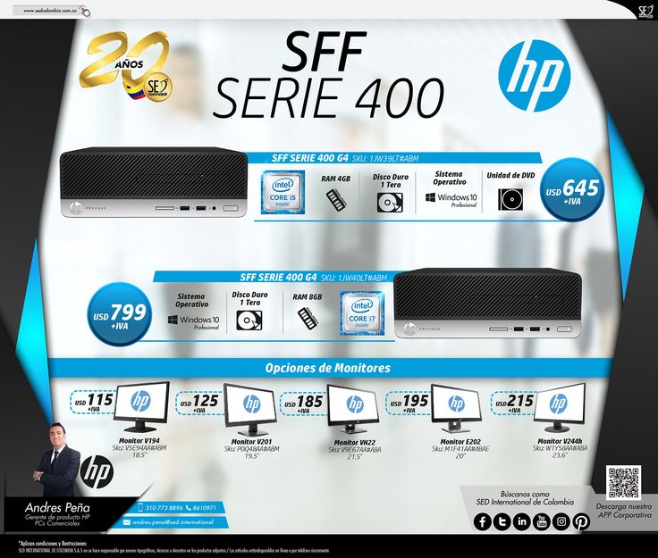 SFF Serie 400 de HP :Contacta a tu gerente de producto para más información: Andres Peña Celular: 310 773 8896 Email: andres.pena@sed.international #HP #SEDCOLOMBIA #SEDINTERNATIONAL