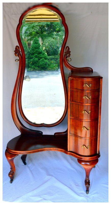 Mahogany Beveled Cheval Mirror combination Lingerie Vanity Chest. Circa 1920s