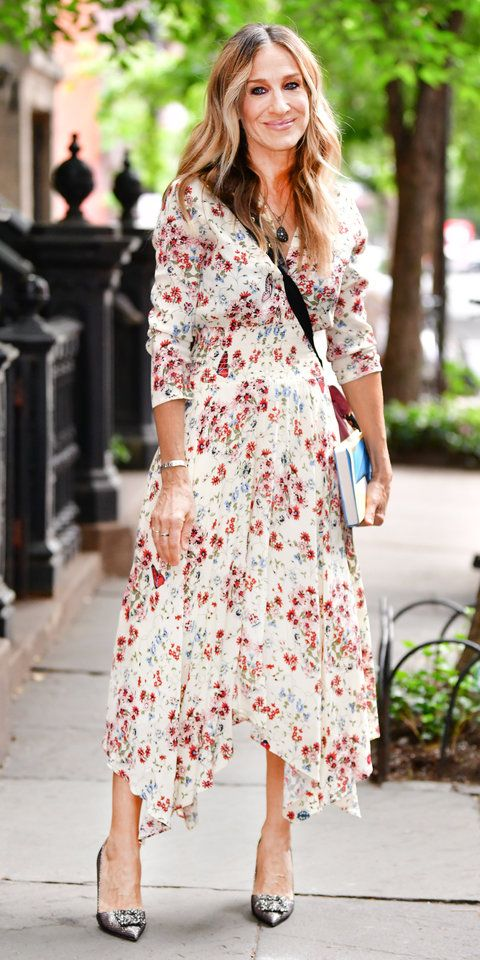 91d6c4f651ba Sarah Jessica Parker showed off her summer style in a floral Maje dress  paired with silver, sparkly heels from the SJP by Sarah Jessica Parker  collection.