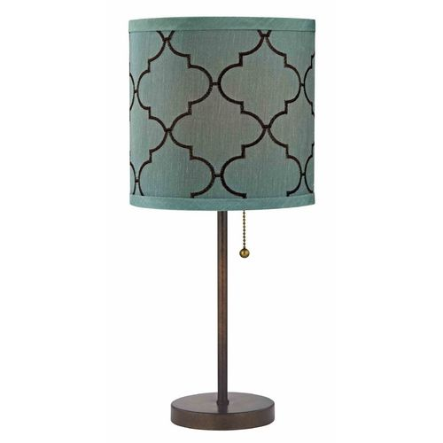Pull Chain Bronze Table Lamp With Marrakesh Pattern Drum