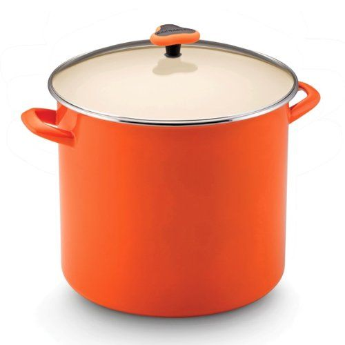 Rachael Ray Enamel On Steel Stockpot with Glass Lid - http://cookware.everythingreviews.net/9292/rachael-ray-enamel-on-steel-stockpot-with-glass-lid.html