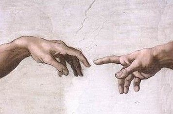 Hands of God and Adam.  Leonardo da Vinci.  Sistine Chapel, fresco Michelangelo.  1509.