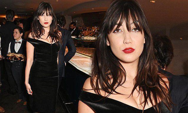 Velvet Crush! Daisy Lowe smoulders in black bardot dress at LCM party