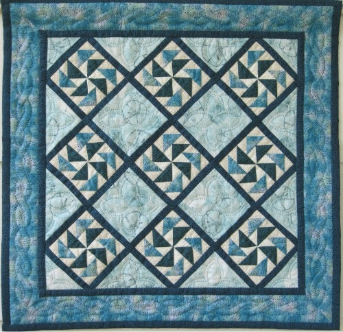 Ocean quilt finished - virtual quilt day project