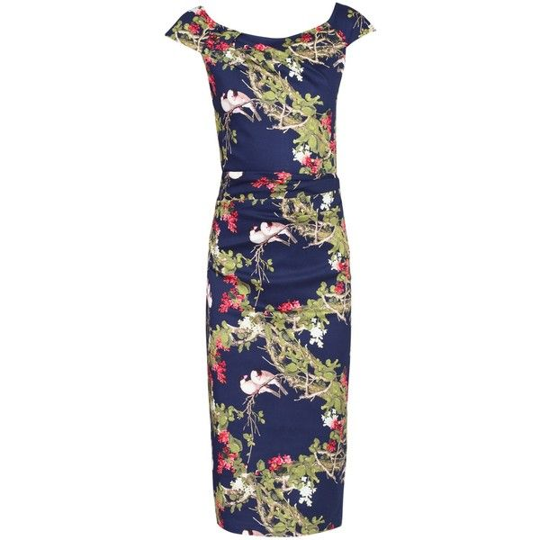 Jolie Moi Floral Ruched 40s Dress , Navy ($46) ❤ liked on Polyvore featuring dresses, navy, navy blue dresses, floral bodycon dress, bodycon maxi dress, navy maxi dress and cap sleeve dress