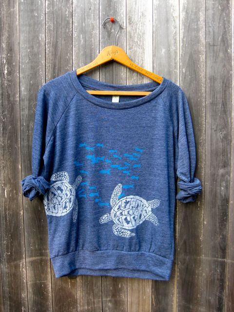 under the deep blue sea Pullover, Sea Turtle Shirt, Slouchy Pullover. $36.00, via Etsy.